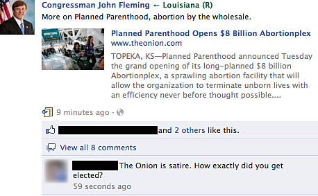 From Congressman John Fleming's Facebook page
